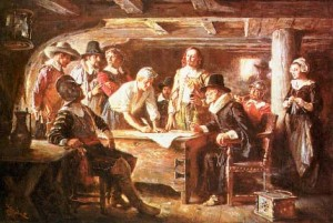 Drawing Up the Mayflower Compact