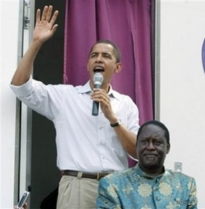 Obama in Kenya with Odinga