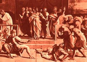 Ananias Struck Down by the Lord for His Hypocrisy