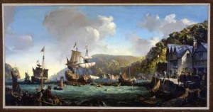 Mayflower & Speedwell in Dartmouth Harbor