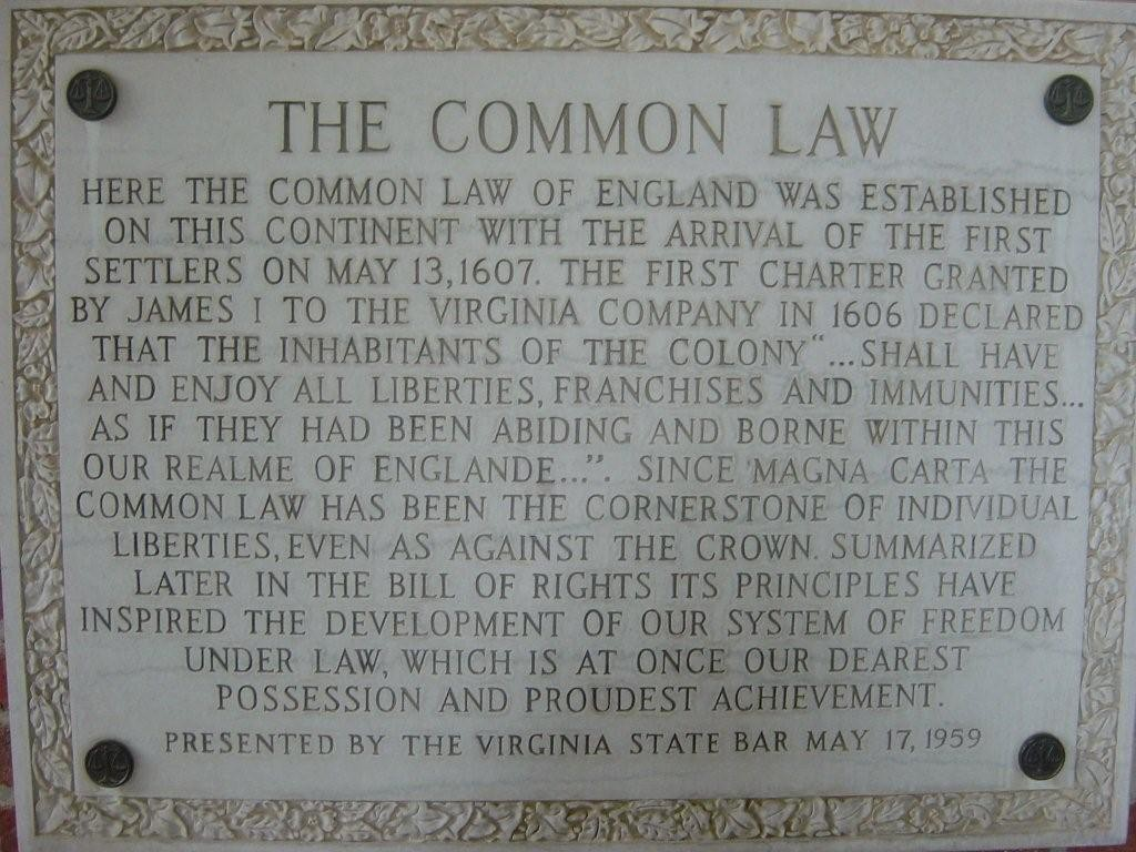 Jamestown--Common Law Plaque