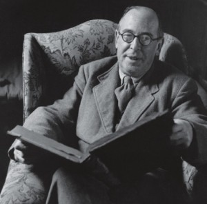 C. S. Lewis with Book